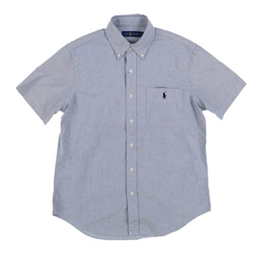 (RALPH LAUREN Mens Short Sleeve Pocket Oxford Button up Shirt (Large, Grey))