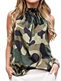 ECOWISH Women Summer Halter Neck Floral Shirts Tie Neck Sleeveless Blouse Cute Tops Camouflage X-Large