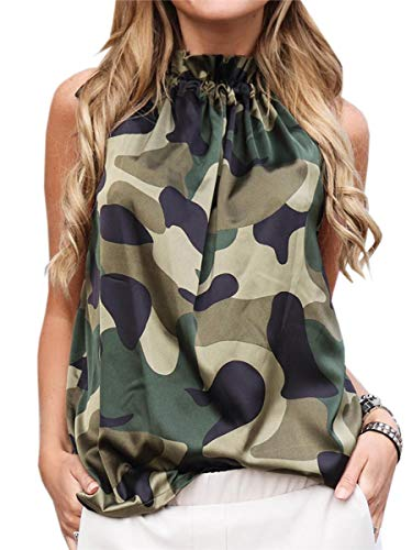 ECOWISH Women Summer Halter Neck Floral Shirts Tie Neck Sleeveless Blouse Cute Tops Camouflage Small