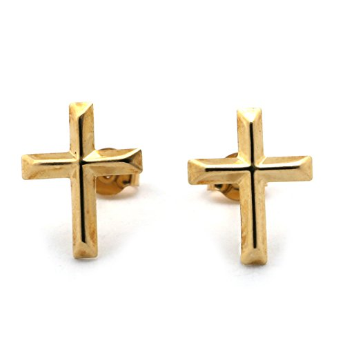 14k Yellow Gold Textured Cross Stud Earrings 14k Gold Textured Cross