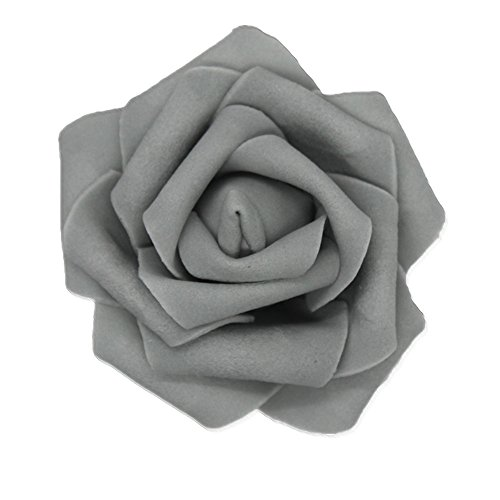 7cm DIY Real Touch 3D Artificial Floral Foam Roses Head Without Stem for Wedding Party Home Decoration-50pcs ()