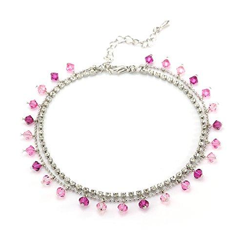 2-Strand Boho Dangling Pink Crystal Beads CZ Rhodium Plated Brass Anklet/Bracelet
