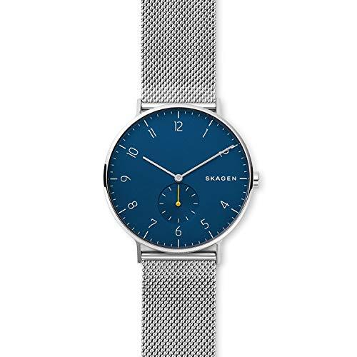 (Skagen Men's Aaren Analog-Quartz Stainless-Steel Strap, Silver, 20 Casual Watch (Model: SKW6468))