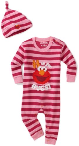 Hatley   Baby Girls' Elmo H Is For Hugs Coverall And Hat