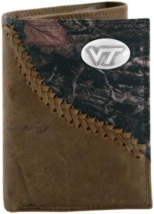 NCAA Virginia Tech Hokies Zep-Pro Leather Magnet Concho Money Clip Black