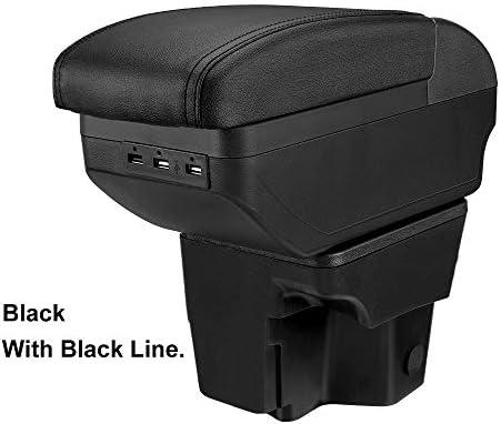 車のアームレストボックスセンターコンソール アームレストボックス用USBカースタイリングアクセサリーと起亜リオ3 2011-2016 PUレザー中央コンテナストレージボックス アームレスト コンソールボックス (Color : Dual-Layer Black)
