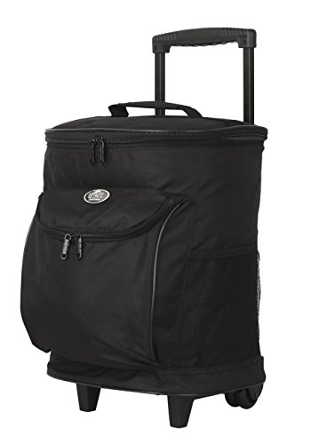 "16"" Cool Carry 2-Section Rolling Cooler with Thermal Insulation, Black Color Option"