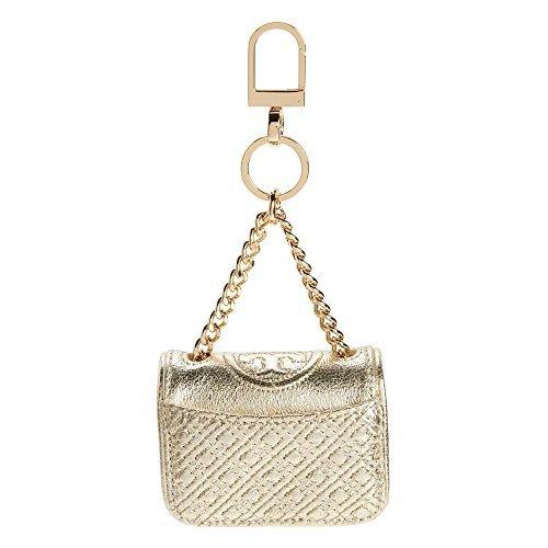 Tory Burch Fleming Bag Charm Tote Leather Key Fob Keychain TB Logo (Spark - Gold Bag Tory Burch