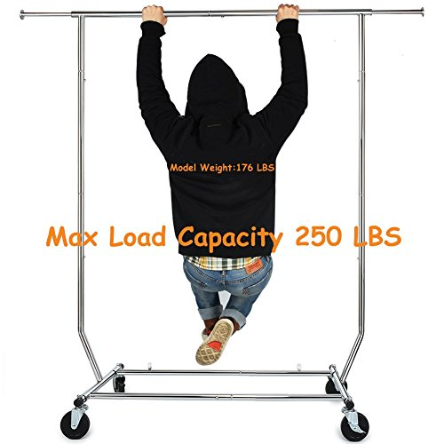 HOKEEPER 250 Lbs Commercial Clothing Garment Racks Heavy Duty Sing Rail Adjustable Collapsible Rolling Clothes Rack, Chrome ()