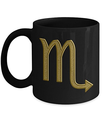 Scorpio Mug - Zodiac Astrology Ceramic Coffee Tea Cup with Gold Horoscope Sign -11oz or BIG 15oz Drinkware - Perfect Decor Gift for Women and Men - 15 oz