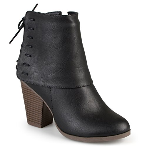 - Journee Collection Womens High Heel Corset Lace Chunky Heel Ankle Boots Black, 7.5 Regular US