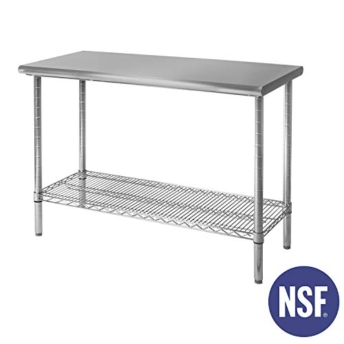 "Seville Classics Commercial-Grade NSF Top Work Table, 49"" W x 24"" D x 35.5"" H, x x, Stainless Steel"