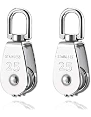 Houkr 2Pcs 25MM Single Pulley Block in 304 Stainless Steel M25 Crane Swivel Hook Pulley Roller Loading 400kg – Silver