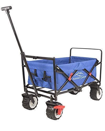g Wagon, Heavy Duty Collapsible Outdoor Utility Wagon Cart with All-Terrain Wheels and Brake, US Patented, 265 lbs Load Capacity, Blue ()