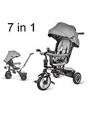 besrey 7 en 1 Tricycle Vélo Réversible Evolutif Multifonctionnel (Roues Gonflable/PU). Les Roues sont Silencieuses et Anti-Pincement. avec La Tige-Poussoir Directionnelle. De 7 Mois à 6 Ans.