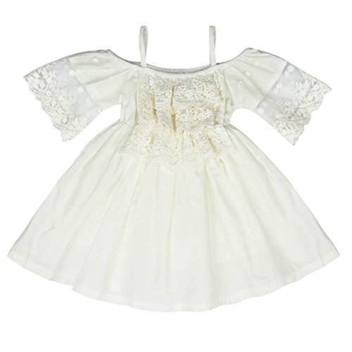 off white lace flower girl dress - 9