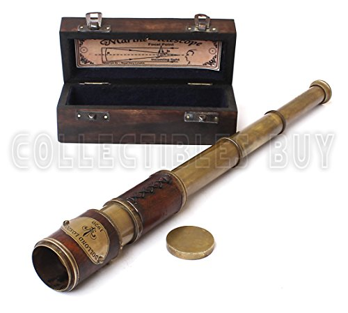 Brass & Leather Sailor Look Brass Antique Sea Marine Telscope by Collectibles Buy
