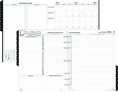 Day-Timer 2019-2020 Planner Refill, July Start, 8-1/2'' x 11'', Folio Size 5, Two Pages Per Day, Loose Leaf (94800) by Day-Timer