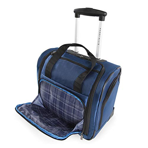 41csKg94eAL - Perry Ellis Men's Excess 9-Pocket Underseat Rolling Tote Carry-on Bag Travel, Navy, One Size