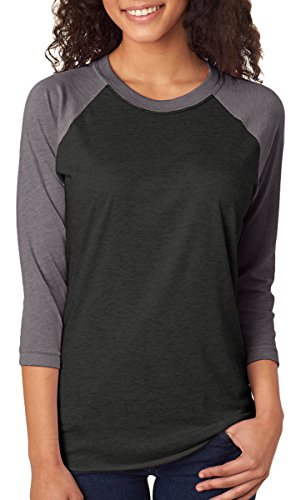 Apparel (Next Level Apparel 6051 Unisex Tri-Blend 3 By 4 Sleeve Raglan - Premium Heather & Vintage Black,)