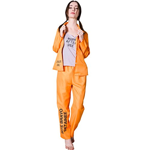 flatwhite Womens Sexy Prisoner Costume (Orange,S,M,L)