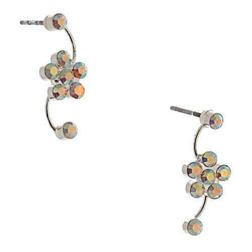 Topwholesalejewel Wedding Earring Silver Aurora Borealis Flower Stud Earring For Women