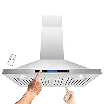 """AKDY® 30""""/36""""/42""""/48"""" Island Mount Stainless Steel Dual LED Display Touch Control Panel Kitchen Range Hood w/ Remote Cooking Fan Vent"""