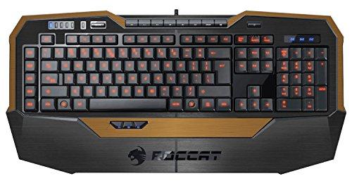 Decalrus - Carbon Fiber Skin for ROCCAT Isku FX Multicolor Gaming Keyboard BLACK & GOLD Texture Brushed Aluminum skin skins decal for case cover wrap BAroccatISKUBlackGold