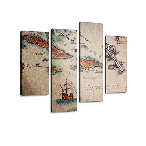 - Treasure Map Canvas Wall Art Hanging Paintings Modern Artwork Abstract Picture Prints Home Decoration Gift Unique Designed Framed 4 Panel