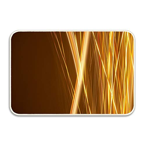 yyoungsell Abstract Toss Kinetic Artistic Gold Yellow Lines Light Stripes Light Trails Super Absorbent Anti-Slip Mat,Coral Carpet,Carpet Door Mat,Carpet,Carpet,Door Mat 18x30