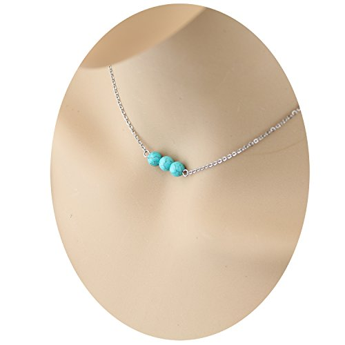 Dainty Triple Turquoise Choker Necklace - Silver Tone Simple Small Tiny Three Real Natural Genuine Round Turquoise Bar Stone Bead Gemstone Necklace Jewelry Stainless Steel for Women Girls (Genuine Gemstone Jewelry)