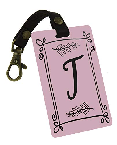Deluxe Luggage Tag w/Leather Strap Easy Zipper Attach - Personalized Rustic Touch Pink (T, Pink)