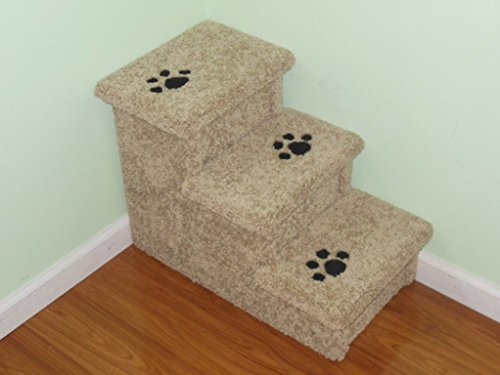 Pet Steps, Dog Stairs, Handmade in USA, 18'' High All Carpet Doggie Steps for Beds, Pet Steps for Dogs,Dog Bed Steps, Puppy Stairs, Cat Steps by Hampton Bay Pet Steps