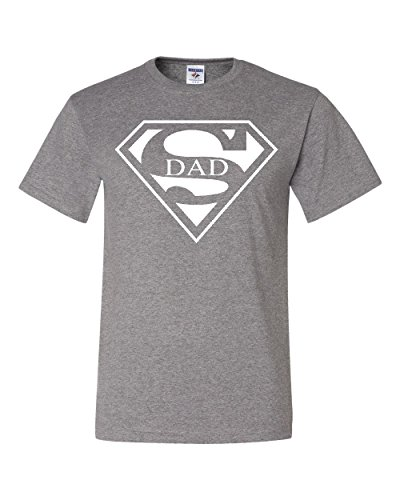 Super Dad T-Shirt Funny Superhero Father's Day Tee Shirt Gray 3XL
