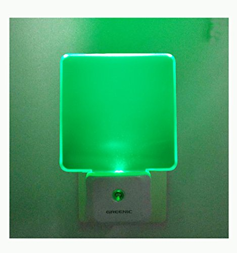 GREENIC 2 Pack 0.5W Plug in LED Night Light with Dusk to Dawn Sensor Green ()