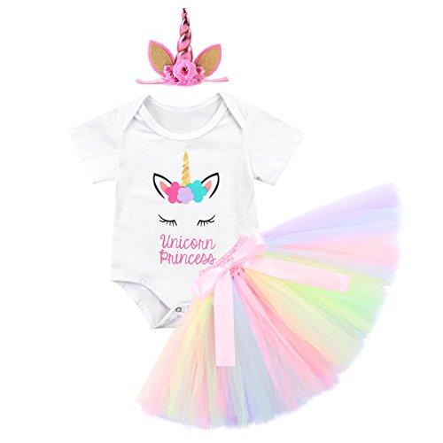 Unicorn Birthday Outfit Baby Girls Clothes Flutter Short/Long Sleeve Romper + Rainbow Tutu Ruffle Tulle Skirt + Glitter Horn Headband Half/First Christmas Party Dress up Costume 3Pcs Set White 3-6M ()
