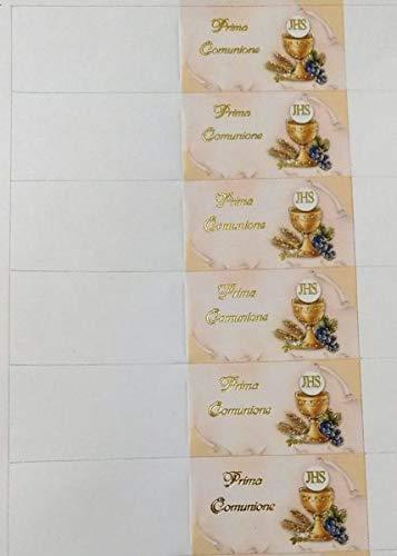 100 PZ Bigliettini bigliettino bomboniera PRIMA COMUNIONE con calice scritta oro a rilievo