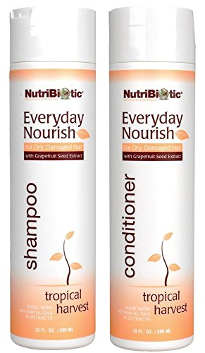 NutriBiotic Everyday Nourish Tropical Harvest Shampoo and Conditioner Bundle with Grapefruit Seed Extract, Citric Acid, Tea Tree Oil and Sunflower Seed Oil, 10 fl. oz.
