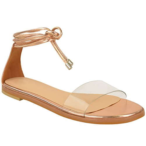 Fashion Thirsty Womens Flat Platform Perspex Strap Ankle Tie Up Summer Sandals Shoes Size - Flat Tie Ankle Sandal
