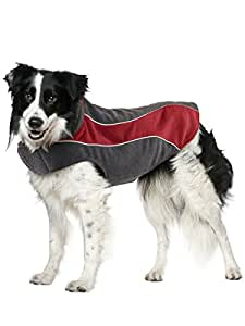 "Kakadu Pet Explorer Double Fleece Dog Coat with Reflective Stripe, 10"", Flame (Red)"