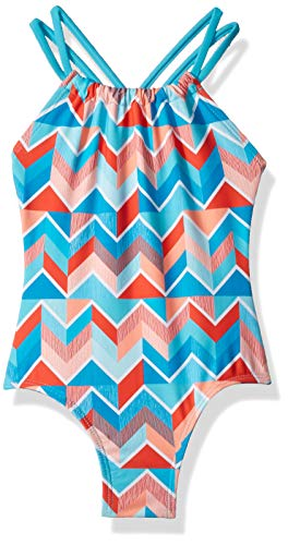 Kanu Surf Little Girls' Jasmine Beach Sport Halter One Piece Swimsuit, Ruby Blue Chevron, 6X ()