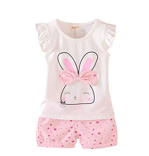 Adorable Toddler Baby Girls Bunny Print Clothes Set Little Girls Clothing, Long Sleeve T-Shirt +Pants 2pcs Outfits (Age(4T), B-Pink)