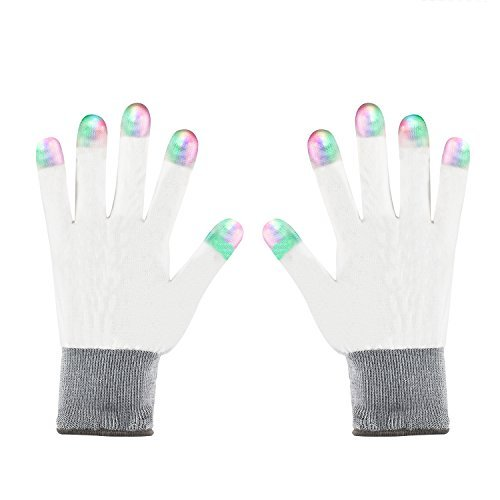 LED Gloves ZOETOUCH Finger Lights Flashing Gloves Fingertip LED Lighted Gloves For Halloween Dance Dubstep Party Birthday-6 Modes(White) -
