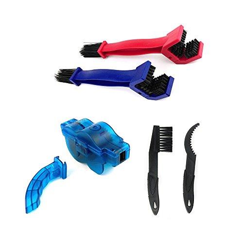 Asayu Bike Chain Cleaning Tool Rotating Brushes Chain Gear Cleaner Washer Set, Bike Bicycle Chain Washer Cleaner Cleaning Brush (Blue and Red)
