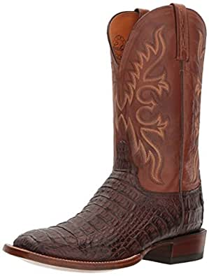 Lucchese Bootmaker Men's Fisher Western Boot, Barrel Brown/Tan Burnished, 10 2E US