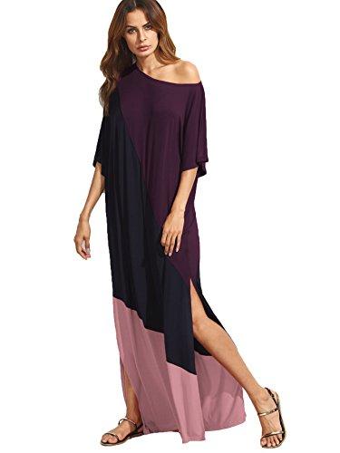 Verdusa Women's Summer Color Block Side Split Loose Maxi Long Dress Purple Pink -