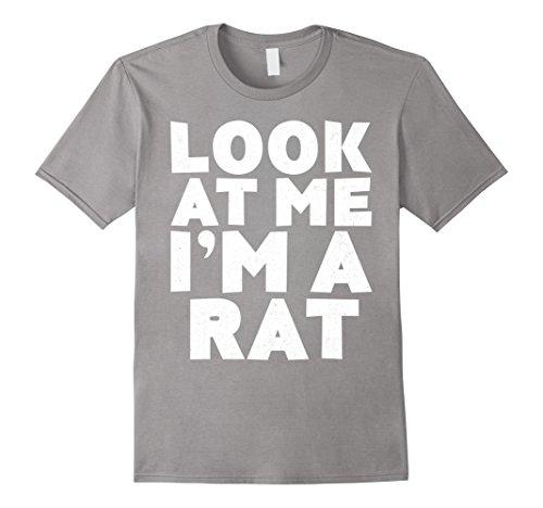 [Mens Look At Me I'm A Rat T-Shirt Halloween Costume Shirt Medium Slate] (Rat Nose Costume)