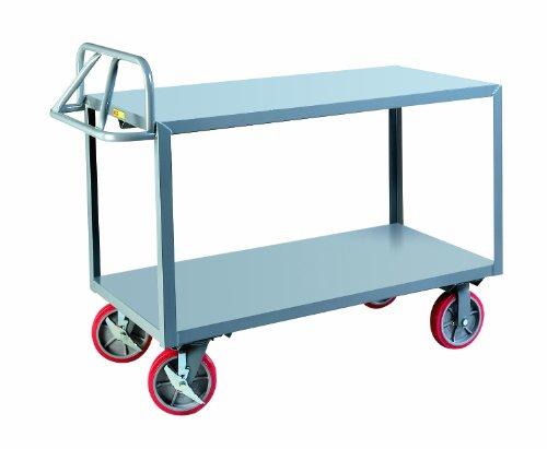 - Little Giant ERG-2448-8PYBK Ergonomic Shelf Truck with Flush Edge Shelves, 3600 lbs Capacity, 48