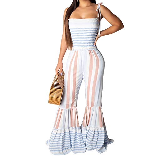 FULA-bao Women Striped Bell Bottom Jumpsuit Spaghetti Strap Backless Empire Waist Flare Pants Rompers Playsuit (White, 2XL)