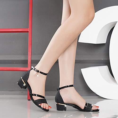 I 37 Diamond Scarpe Diamond Sandali Scarpe da La Donna donna Summer Tacchi 3Cm Black Sandali Spesso Secondo KPHY Moda I Fibbie Signora ZRd4xqvxw